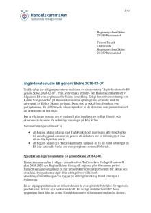 Brev till Regionstyrelsen Skåne angående väg E6 genom Skåne