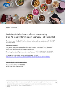 Invitation to telephone conference concerning Duni AB (publ) Interim report 1 January – 30 June 2019