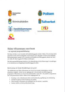 """Här kan du ta del av programförklaringen """"Skåne tillsammans mot brott"""""""