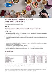 Interim report for Duni AB (publ) 1 January - 30 June 2019