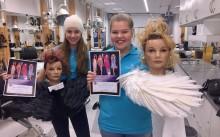 Drottning Blanka-elever laddar för frisör-SM