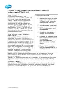 Faktablad: Familjär transtyretinamyloidos med kardiomyopati (TTR-CM, FAC)