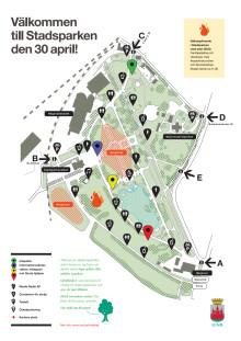 Karta över stadsparken, valborg 2012