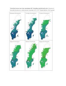 Karta över vårkollens arter. År 1873-1951.