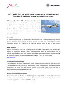 Neu: Condor fliegt von München nach Mauritius im Winter 2019/2020