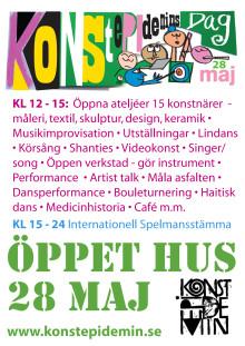 Affisch 28 maj = Konstepidemins Dag + Internationell spelmansstämma
