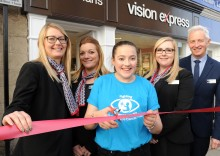Knaresborough child cancer survivor is guest of honour as Wetherby optician celebrates its new premises