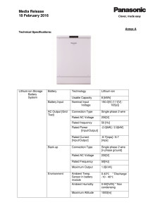 Annex A- Technical Specifications Home Storage Battery System