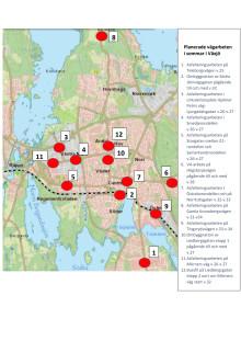 Vägarbeten i Växjö under sommaren.