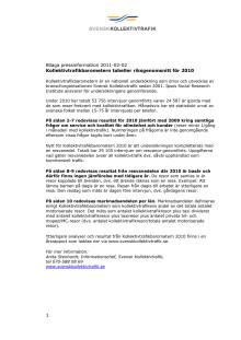 Bilaga till pressmeddelande Kollektivtrafikbarometern tabeller riksgenomsnitt för 2010