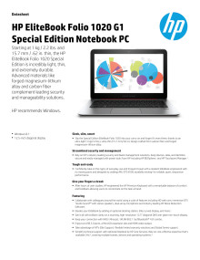 HP EliteBook Folio 1020 G1 Special Edition Notebook PC dataark