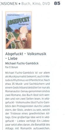 """Buchbesprechung in der """"Melodie  & Rhythmus """" Ausgabe Januar 2014 Abgefuckt – Volksmusik / Liebe Von Michael Fuchs-Gamböck"""
