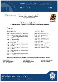Program, SNAFA-konferens, Högskolan i Halmstad
