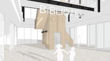 Första väggen uppe i nya Biblioteket i Finspång!