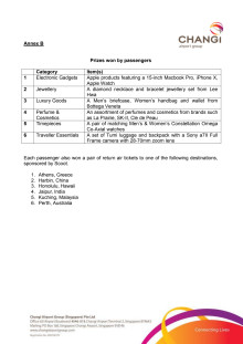 Annex B - Prizes won by passengers