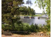 Fotomontage av dammen i sundet mellan Kyrkviken och Glafsfjorden
