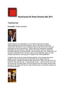 Testhornet nominerat till Årets Smarta Sak 2011