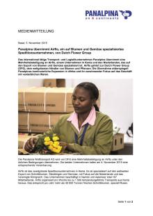 Panalpina übernimmt Airflo, ein auf Blumen und Gemüse spezialisiertes Speditionsunternehmen, von Dutch Flower Group