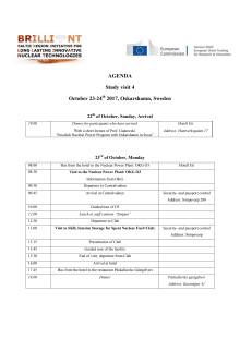 Program - Internationellt kunskapsutbyte med fokus på kärnkraft och kärnbränslecykeln
