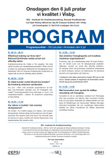 SIQs Program i Almedalen den 6 juli