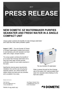 New Dometic XZ Watermaker Purifies Seawater and Freshwater  in a Single Compact Unit