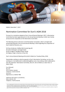 Nomination Committee for Duni's AGM 2018