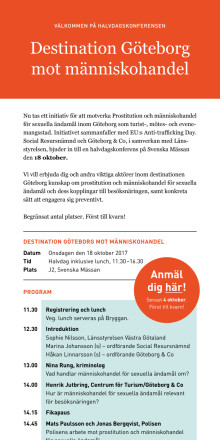 Inbjudan till Destination Göteborg mot människohandel