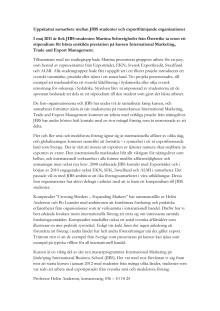 Uppskattat samarbete mellan JIBS studenter och exportfrämjande organisationer