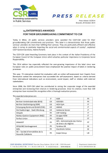 CEEP CSR Pristagare i Europa 2014