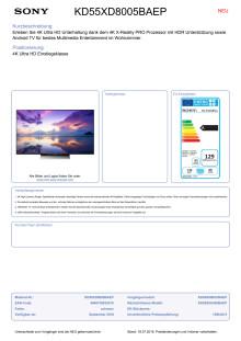 Datenblatt BRAVIA KD-55XD8005BAEP von Sony