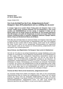 Designers' Open - Pressemitteilung der Leipziger Messe GmbH