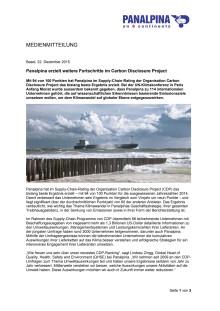 Panalpina erzielt weitere Fortschritte im Carbon Disclosure Project
