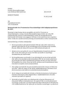 Remissyttrande över Promemorian Vissa skattefrågor inför budgetpropositionen för 2013