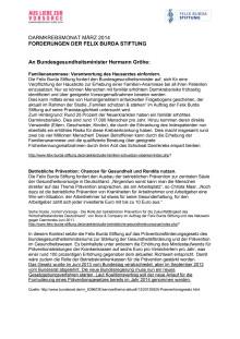 Die politischen Forderungen der Felix Burda Stiftung. Darmkrebsmonat März 2014