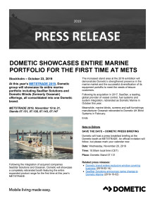 Dometic Showcases Entire Marine Portfolio for the First Time at METSTRADE