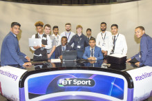 Youngsters celebrate graduation event at BT Sport's studio in Hackney