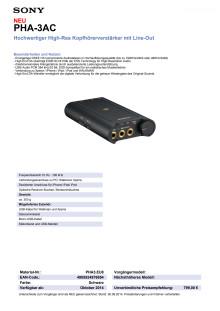 Datenblatt_PHA-3AC von Sony