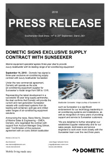 Dometic Signs Exclusive Supply Contract with Sunseeker