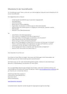 Stellenausschreibung: Mitarbeiter/in der Geschäftsstelle