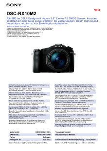 Datenblatt DSC-RX10M2 von Sony