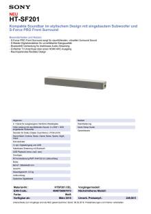 Datenblatt Soundbar HT-SF201 von Sony