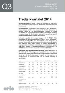 Orio delårsrapport Q3 2014