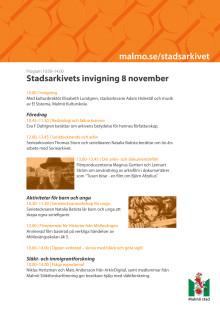 Program för Stadsarkivets invigning 8 november 2014