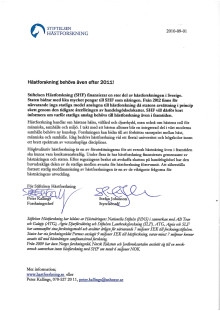 Brev från Stiftelsen Hästforskning till samtliga riksdagsledamöter