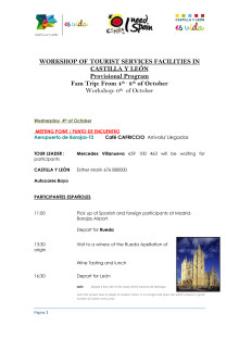 Preprogramme- Workshop of Tourist Services Facilities in Castilla y León