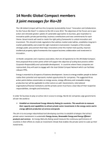 Joint sustainable statement signed by14 Nordic Global Compact members
