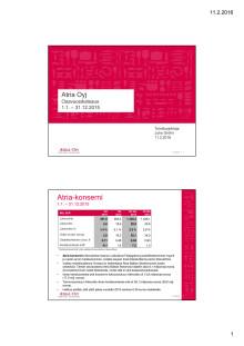 Atria Oyj:n tilinpäätös 1.1.-31.12.2015 esitysmateriaali