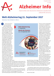 """Alzheimer Info 3/2017 mit den Schwerpunktthemen Welt-Alzheimertag 2017 und """"Draußen aktiv"""""""