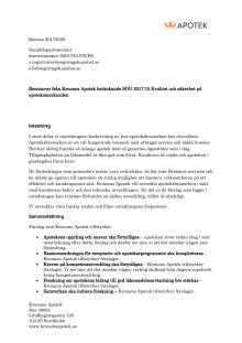 Kronans Apotek tycker till om utredningen Kvalitet och säkerhet på apoteksmarknaden, SOU 2017:15