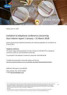 Invitation to telephone conference concerning Duni interim report 1 January – 31 March 2018